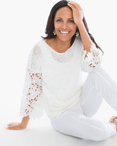 Chico's Textured Lace-Sleeve Pullover