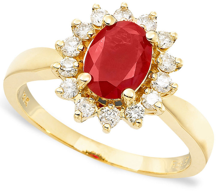Effy Royalty Inspired by Ruby (1-3/8 ct. t.w.) and Diamond (3/8 ct. t.w.) Oval Ring in 14k Gold