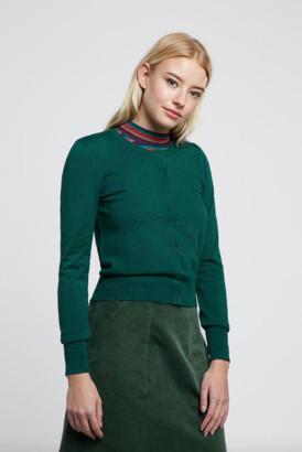 Louche Idie Spot Button Through Cardigan Green - viscose | 14