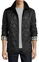 Burberry Corduroy-Collar Quilted Jacket, Black
