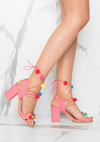 Missy Empire Axelle Pink Pom Pom Detail Lace Up Heels