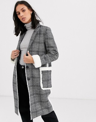 Gianni Feraud longline wool blend check coat with faux fur trims-Gray