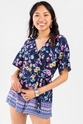 francesca's Reggie Floral Kimono Romper - Navy
