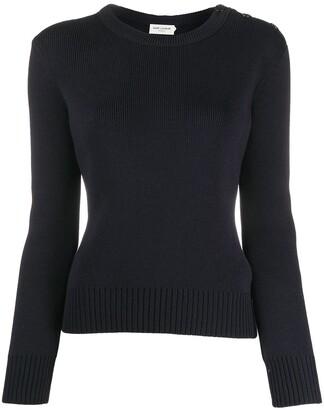 Saint Laurent Button-Detail Wool Jumper
