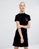 Lazy Oaf Midnight Planet Mini Dress In Stretch Velvet