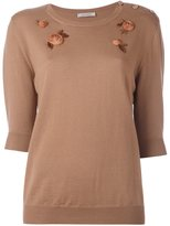 Nina Ricci floral embellished knit blouse - women - Wool - M