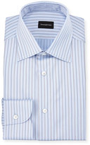 Ermenegildo Zegna Striped Twill Long-Sleeve Dress Shirt, Light Blue