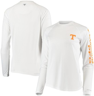 Women's Columbia White Tennessee Volunteers PFG Tidal Omni-Shade Long Sleeve T-Shirt