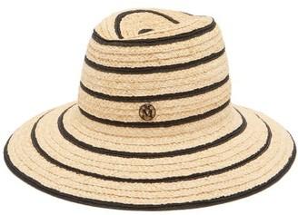 Maison Michel Kate Striped Straw Fedora Hat - Black White
