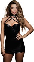 Dreamgirl Women's Faux-leather Dress With Spiked Collar