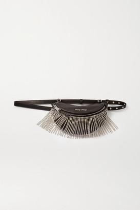 Miu Miu Crystal-embellished Leather Belt Bag - Black