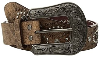 M&F Western Cluster Studs with Copper Buckle Belt (Brown) Women's Belts
