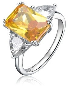 Collette Z Sterling Silver with Rhodium Plated Yellow Radiant with Clear Trillion Cubic Zirconia Three Stone Cocktail Ring