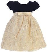 Lito Big Girls Black Glitter Velvet Corded Tulle Christmas Dress