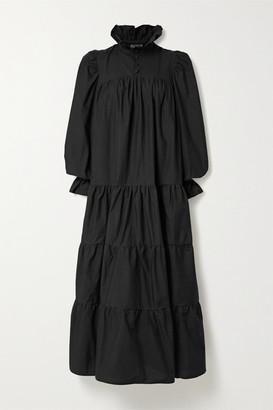 AVAVAV Ruffled Tiered Cotton-poplin Maxi Dress - Black