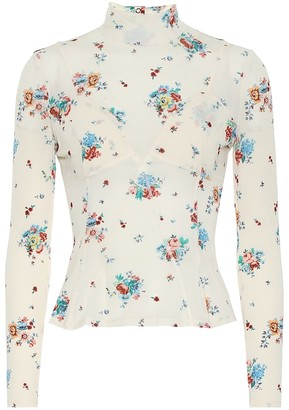 Paco Rabanne Floral crepe turtleneck top