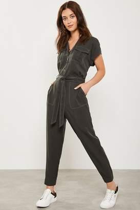 Mint Velvet Womens Khaki Contrast Stitch Pant - Green