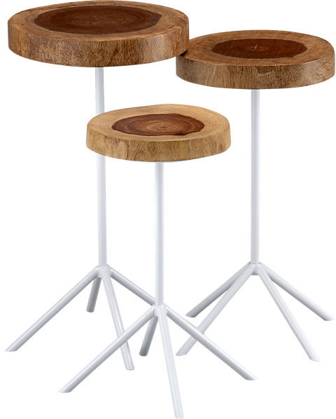 CB2 Timber Side Tables Set Of 3