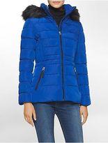 Calvin Klein Womens Faux Fur Hooded Jacket
