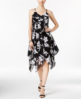 INC International Concepts Petite Floral-Print Handkerchief-Hem Dress, Only at Macy's