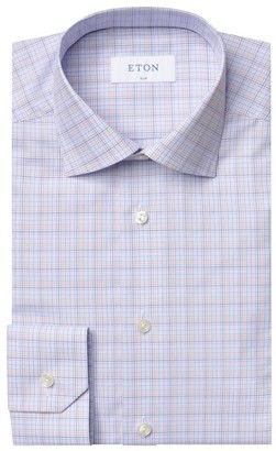Eton Slim-Fit Multicolor Plaid Dress Shirt