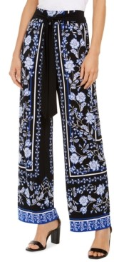 INC International Concepts Inc Scarf-Print Wide-Leg Pants, Created for Macy's