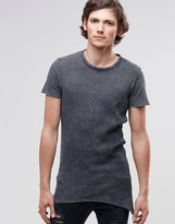 Asos Super Longline Muscle T-Shirt In Waffle With Pointed Hem And Acid Wash