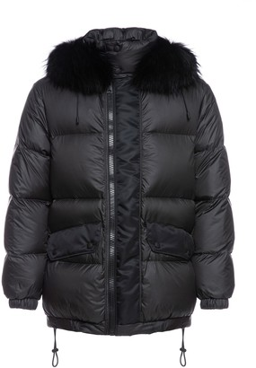 Mr & Mrs Italy Overfitted Unisex Down Jacket With Fur