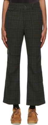 Needles Grey Plaid Boot Cut Trousers