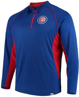 Men's Fanatics Branded Royal Chicago Cubs Windsor Long Sleeve Quarter-Zip Knit Wind Shirt Jacket