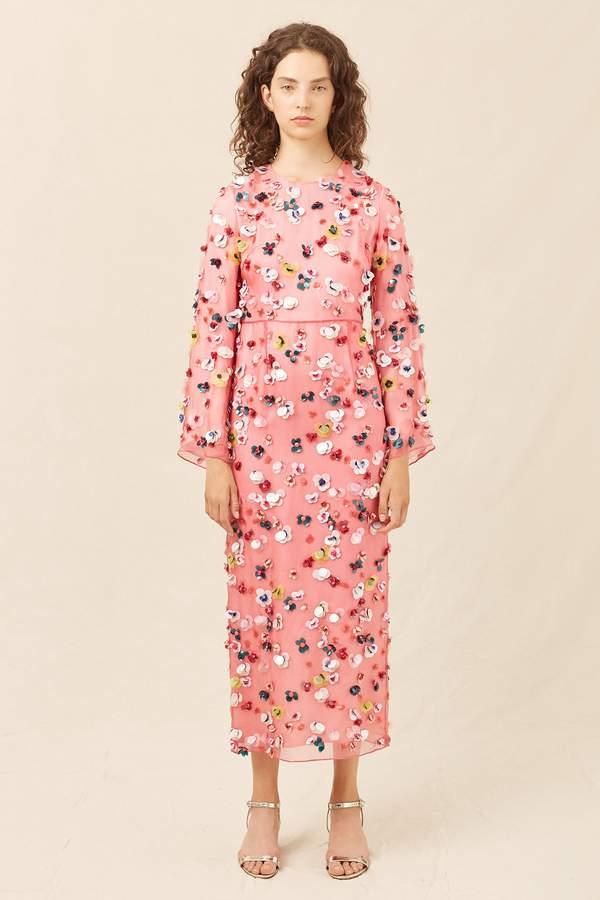 Mansur Gavriel Floral Embellished Silk Evening Gown - Blush