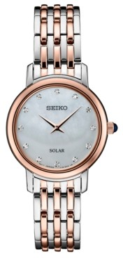 Seiko Women's Diamond-Accent Two-Tone Stainless Steel Bracelet Watch 29.5mm, Created for Macy's