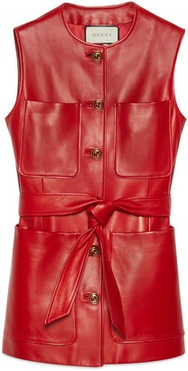 Gucci Plonge leather long vest