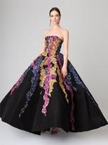 Oscar de la Renta Tendrils Embroidered Silk-Faille Gown