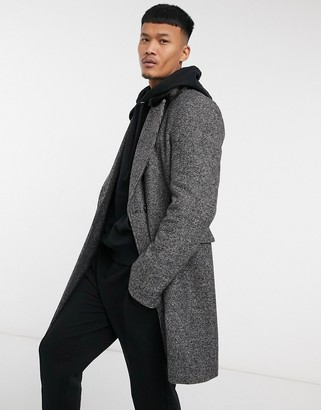 ASOS DESIGN wool mix double breasted coat with faux fur collar in salt and pepper gray
