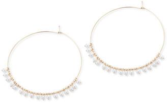 Mizuki 14k Gold Large Hoop & Pearl Dangle Earrings