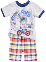 Nannette 2-Pc. Cotton Dino Working T-Shirt & Plaid Shorts Set, Baby Boys (0-24 months)