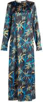 Marni Long-sleeved Herbage-print satin dress