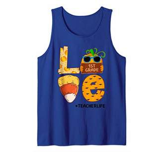 #Teacherlife 1st Grade Candy Corn Teacher Life Pumpkin Gift Tank Top