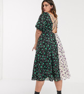 Lost Ink Plus Lost Ink plus midi tea dress with back detail in mixed floral prints
