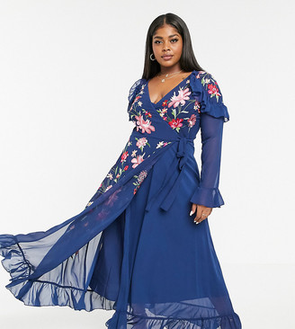 ASOS DESIGN Curve embroidered wrap maxi dress with pephem and fluted sleeves in navy