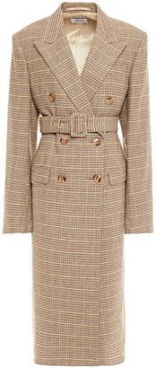 Nanushka Greta Belted Double-breasted Houndstooth Woven Coat