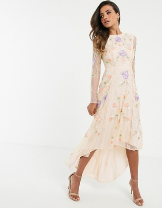 Asos Design DESIGN midi dress with dipped hem in occasion floral embroidery and lace inserts-Multi