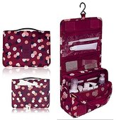 Mr.Pro Waterproof Travel Kit Organizer Bathroom Storage Cosmetic Bag Carry Case Toiletry Bag with Hanging Hook (Polka Dot Red)