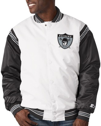 Men's Starter White/Black Las Vegas Raiders Historic Logo Renegade Satin Varsity Full-Snap Jacket