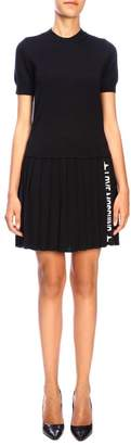 Love Moschino Dress Crew-neck Dress With Pleated Skirt And Logo