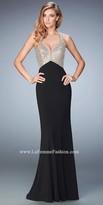 La Femme Beaded Jersey Mermaid Prom Dress