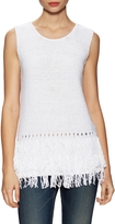 Leo & Sage Women's Cotton Fringe Trimmed Sleeveless Top