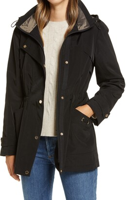Gallery Cinched Waist Hooded Raincoat