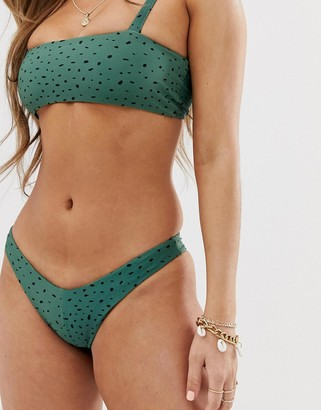 Charlie Holiday high leg bikini bottom in green